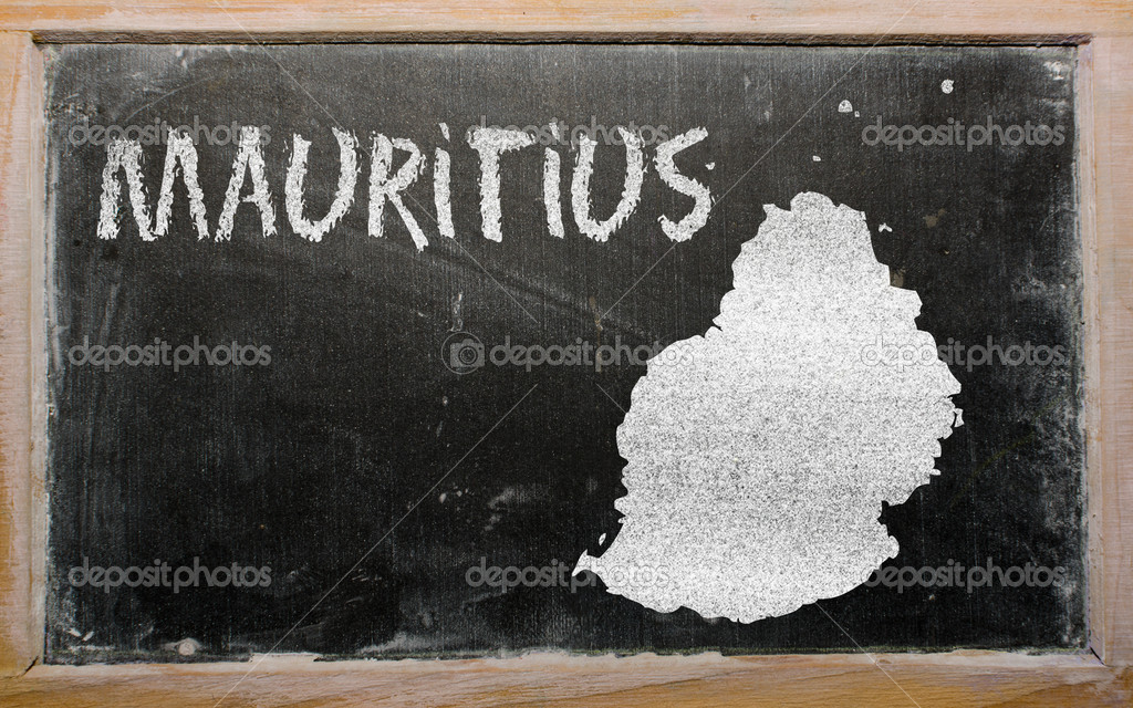 Drawing of mauritius on blackboard, drawn by chalk  Stock Photo #10119690