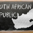 Outline map of south africa on blackboard — Stock Photo