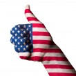America national flag thumb up gesture for excellence and achiev — Stock Photo #10123863