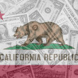 US state of california flag with transparent dollar banknotes in — Stock Photo