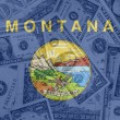 US state of montana flag with transparent dollar banknotes in ba - Stock Photo