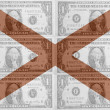 US state of alabama flag with transparent dollar banknotes in ba — Stock Photo