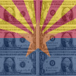 US state of arizona flag with transparent dollar banknotes in ba - Stock Photo