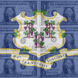 US state of connecticut flag with transparent dollar banknotes i - Stock Photo
