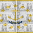 US state of rhode island flag with transparent dollar banknotes — Stock Photo #10127604