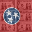 US state of tennessee flag with transparent dollar banknotes in — Stock Photo