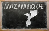 Outline map of mozambique on blackboard — Stock Photo