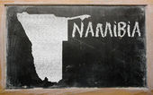 Outline map of namibia on blackboard — Stock Photo