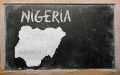 Mapa przeglądowa nigerii na tablicy — Zdjęcie stockowe