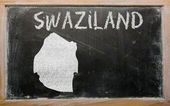 Outline map of swaziland on blackboard — Stock Photo