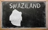 Carte muette du swaziland sur le tableau noir — Photo