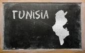 Carte muette de la tunisie sur tableau noir — Photo
