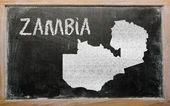 Mapa de contorno de zambia en pizarra — Foto de Stock