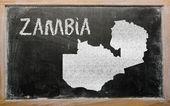 Mappa di contorno dello zambia lavagna — Foto Stock