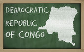 Outline map of congo on blackboard — Foto Stock