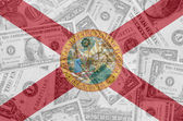 US state of florida flag with transparent dollar banknotes in ba — Stock Photo