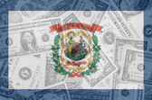 US state of west virginia flag with transparent dollar banknotes — Stock Photo