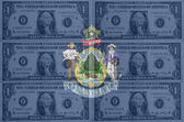 US state of maine flag with transparent dollar banknotes in back — Stock Photo