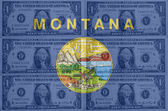US state of montana flag with transparent dollar banknotes in ba — Stock Photo