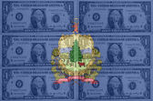 US state of vermont flag with transparent dollar banknotes in ba — Stock Photo