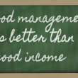 Expression - Good management is better than good income - writt — Stock Photo