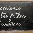 Expression -  Experience is the father of wisdom - written on a — Stok fotoğraf