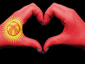 Heart and love gesture by hands colored in kyrgyzstan for touris — Foto de Stock
