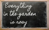 Expression - Everything in the garden is rosy - written on a sc — Stok fotoğraf