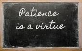 Expression - Patience is a virtue - written on a school blackbo — Stock Photo