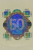 Hologram protection on 50 euro banknote — Stock Photo