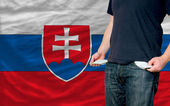 Recession impact on young man and society in slovakia — Stock Photo
