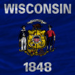 Complete waved flag of american state of wisconsin for backgroun — Stock Photo