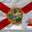 Stock Photo: Mvoting on elections in front of flag US state flag of florid
