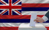 Man voting on elections in front of flag US state flag of hawaii — Stockfoto