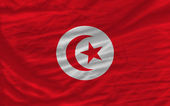 Complete waved national flag of tunisia for background — Stock Photo