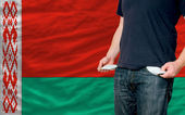 Recession impact on young man and society in belarus — Stock Photo