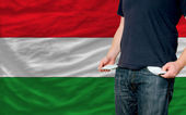 Recession impact on young man and society in hungary — Stock Photo