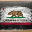 Flag of US state of california on blackboard painted with chalk - Stock Photo