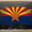 Flag of US state of arizona on blackboard painted with chalk - Stock Photo