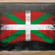 Flag of basque on blackboard painted with chalk - Stock Photo