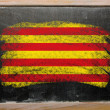 Flag of catalonia on blackboard painted with chalk - Stock Photo