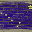 Grunge flag of US state of alaska on brick wall painted with cha — Stock Photo