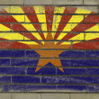 Grunge flag of US state of arizona on brick wall painted with ch — Stock Photo