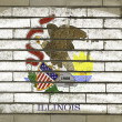 Royalty-Free Stock Photo: Grunge flag of US state of illinois on brick wall painted with c