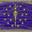 Grunge flag of US state of indiana on brick wall painted with ch — Stockfoto