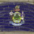 Grunge flag of US state of maine on brick wall painted with chal - Stock Photo