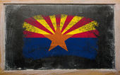 Flag of US state of arizona on blackboard painted with chalk — Fotografia Stock