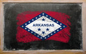 Flag of US state of arkansas on blackboard painted with chalk — Stock Photo