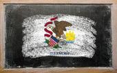 Vlag van ons staat van illinois op blackboard geschilderd met krijt — Stockfoto