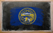 Flag of US state of nebraska on blackboard painted with chalk — Fotografia Stock
